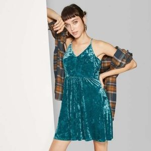 Velvet Skater Dress Teal Turquoise V Neck Strappy